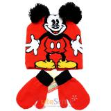 Disney Mickey Mouse 3D Ear Beanie Mitten Gloves Set - Classic Mickey Red