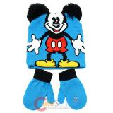 Disney Mickey Mouse 3D Ear Beanie Mitten Gloves Set - Classic Mickey Blue