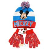 Disney Mickey Mouse Boys Beanie Gloves Set - College Stripe Cuff Red