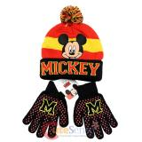 Disney Mickey Mouse Boys Beanie Gloves Set - College Stripe Cuff Black