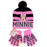 Disney Minnie Mouse Girls Beanie Gloves Set - College Stripe Cuff Pink