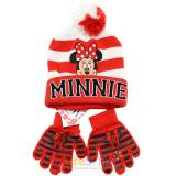 Disney Minnie Mouse Girls Beanie Gloves Set - College Stripe Cuff  Red