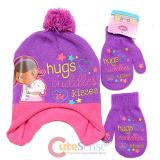 Disney Doc Mcstuffins Beanie Mitten Gloves Set - Hugs and Kisses Purple