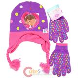 Disney Doc Mcstuffins Beanie Gloves Set - Doc is in Purple Dots