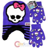 Monster High Laplander Beanie and Gloves Set - Skull Logo Purple