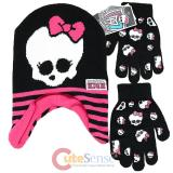 Monster High Laplander Beanie and Gloves Set - Skull Logo Black Pink