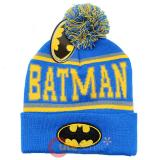 DC Comics Batman Logo Cuff Beanie Hat with Pom Pom - Blue