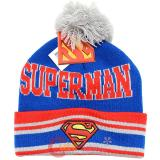 DC Comics Superman Logo Cuff Beanie Hat with Pom Pom - Blue