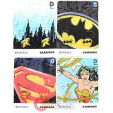 DC Comics Enamel Fill Stud Earring Pack Set - Robin, Batman, Superman , Wonder Woman