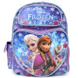 "Disney Frozen Elsa Anna 16"" School Backpack All Over Prints Blue Snowflakes Love with Olaf"