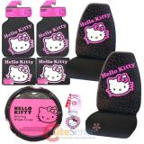 Hello kitty Car Seat Covers Accessories Compleate 8pc Set - Collage