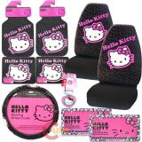 Hello kitty Car Seat Covers Accessories Compleate -10pc Collage