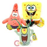 Nick Jr Sponge Bob Patrick Plankton 3pc Plush Doll Set
