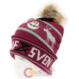 Frozen Olaf and Sven Knitted Beanie with Fox Furry Ball