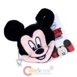 Disney Mickey Mouse Face Plush Coin Purse , Round Mini Wallet