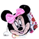 Disney Minnie Mouse Face Plush Coin Purse , Round Mini Wallet