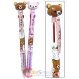 San X Rilakkuma Figure Top 3 color Retractable Ballpoint Pens 2PC Set