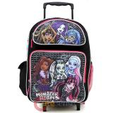 "Monster High Roller School Backpack 16"" Large Rolling Bag - Love to Scare"