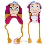 Disney Frozen Anna Face Laplander Beanie Hat with Anna Hair