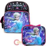"Disney Frozen Elsa 14"" Medium School Backpack Lunch Bag Black Pink 2pc Set"