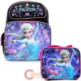 "Disney Frozen Elsa 16"" Large School Backpack Lunch Bag Black Pink 2pc Set"