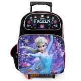 """Disney Frozen Princess Elsa 16"""" School Roller Backpack Black Pink Large Rolling Bag"""