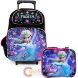 """Disney Frozen Princess Elsa 16"""" Large School  Roller Backpack Lunch Bag Set"""