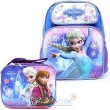 "Disney Frozen Elsa 14"" Medium School Backpack Lunch Bag Ice Snowflakes  2pc Set"