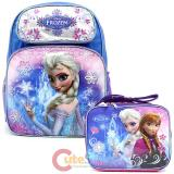 "Disney Frozen Elsa 16"" Large School Backpack Lunch  Ice Snowflakes 2pc Set"