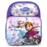 "Disney Frozen Princess Elsa Anna 14"" School Backpack Girls Bag -Ice Snowflakes"