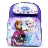 "Disney Frozen Elsa Anna School Backpack 16"" Large Bag -Ice Snowflakes"