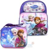 "Disney Frozen Elsa Anna 14"" Medium School Backpack Lunch Bag 2pc Set Ice Snowflakes"