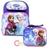 "Disney Frozen Elsa Anna 16"" Large School Backpack Lunch Bag 2pc Set  Ice Snowflakes"