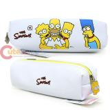 The Simpson Family Pencil Case Faux Leather  Pouch Bag -Group White