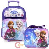 "Disney Frozen Elsa Anna 16"" Large School  Roller Backpack Lunch Bag Set- Ice Snowflakes"