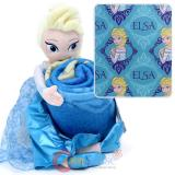 Disney Frozen Elsa Fleece Throw Blanket with Plush Doll Pillow Set