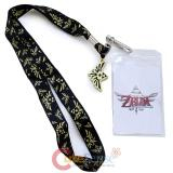 The Legend of Zelda Triforce Lanyard , ID Holder with Gold Metal Emblem