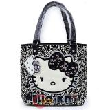 Sanrio Hello Kitty Lace Flocked Floral Fashion Tote Bag Shoulder Hand Bag