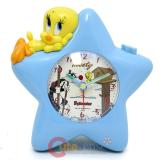Looney Toon Tweety Bird on Star with Sylvester Alarm  Clock Table Watch