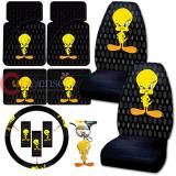 Tweety Birds Car Seat Covers Accessories Complete Set 8pc Bubble Dots