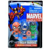 Marvel Heroes  Molded Puzzle Erasers Set -Spiderman Captain America Hulk
