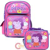 "Peppa Pig 16"" Large School Backpack Insulated  Lunch Bag  2pc Set"