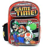 "Nintendo Super Mario School Backpack 16"" Large Book Bag - Game Time"