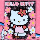 Sanrio Hello Kitty Fleece Throw Blanket : Pink Black Flowers
