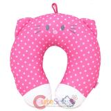 Sanrio Hello Kitty Neck Rest Pillow Travel Cushion- Pink Polka Dots Face