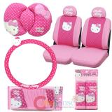 Sanrio Hello kitty Pink Poka Dots 9pc Car Auto Accessories Set