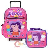 "Peppa Pig  16"" Large School  Roller Backpack Lunch Bag Set"