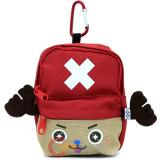 One Piece Chopper Mini Backpack Pouch Key Chain Coin Wallet -Red