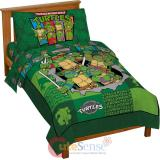 TMNT Ninja Turtles Turtle Toddler Bedding Set - 4pc Microfiber  Bed Set