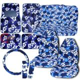 Blue Hawaiian Flowers High Back  Car Seat Covers Accessories Complete Set